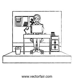 grunge businesswoman executive office with file cabinet