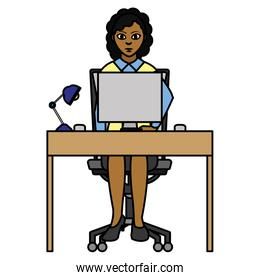 color elegant businesswoman with wood desk and computer