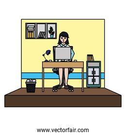 color businesswoman success with file cabinet and computer