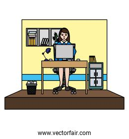 color elegant businesswoman office with file cabinet