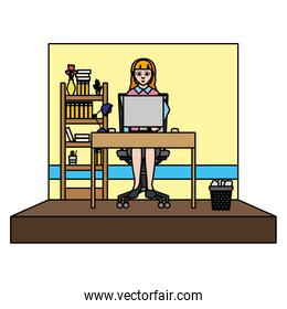 color businesswoman manager office and file cabinet