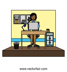 color businesswoman executive office with file cabinet