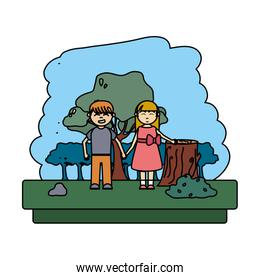 color boy and girl in the forest to ecology reserve