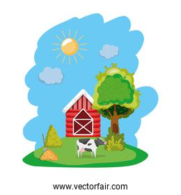house farm with cow and straw bale