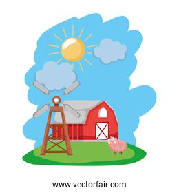 house farm with sheep animal and windmill