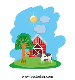 house farm with cow animal and tree