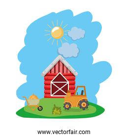 house farm with tractor and handcart with straw bale