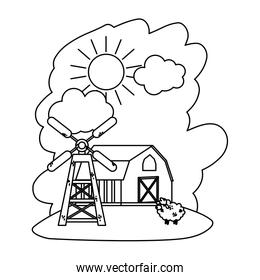 line house farm with sheep animal and windmill
