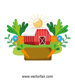 house farm with vegetables cultivated plants