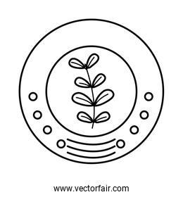 line ecology emblem sticker with plant icon