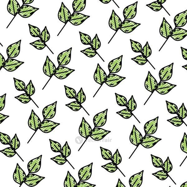 doodle exotic plant nature leaves background