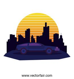 car transport with cityscape and light sun
