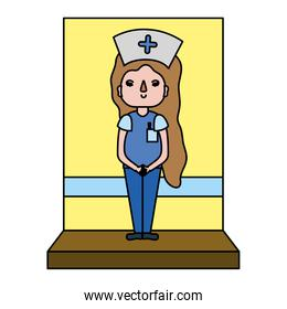 color nice nurse with hairstyle and professional uniform