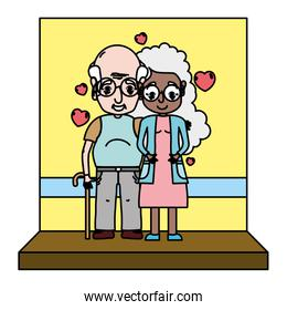 color woman and man elderly couple with hearts