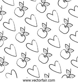 grunge apple fruit and heart style background