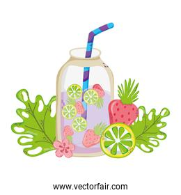 fresh smoothie beverage with exotic plants