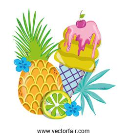 tropical pineapple and lemon with ice cream