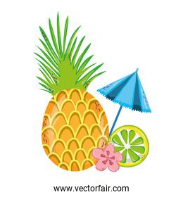 exotic pineapple and lemon with open umbrella