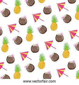 coconut beverage with umbrella and pineapple background