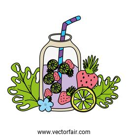 color fresh smoothie beverage with exotic plants