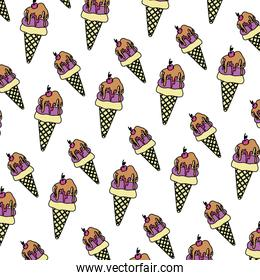 color sweet ice cream with cherry background