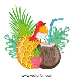 tropical pineapple with coconut beverage and exotic bird
