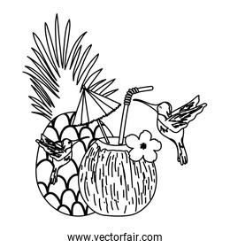 line tropical birds and exotic pineapple and coconut