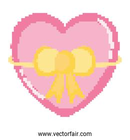 pixelated heart with ribbon bow style