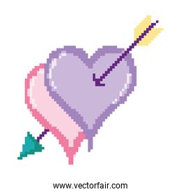 pixelated hearts style with arrow design