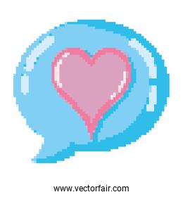 pixelated heart symbol with chat bubble