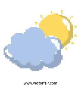 pixelated beauty sun with cloud weather