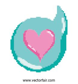 pixelated heart inside chat bubble message