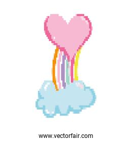 pixelated heart with nature rainbow and cloud