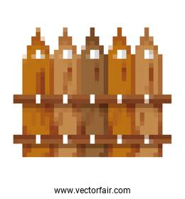 pixelated wood grillage structure design
