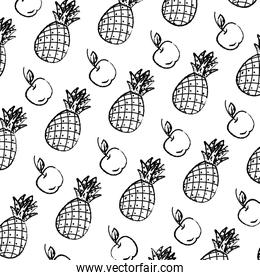 grunge delicious pineapple and apple fruits background