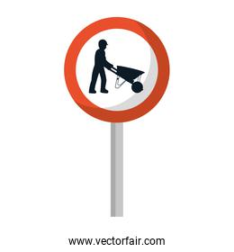 circle caution emblem and laborer with wheelbarrow