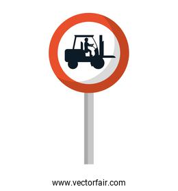 circle caution emblem and laborer with forklift