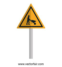 triangle caution emblem and laborer with wheelbarrow