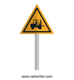 triangle caution emblem and laborer with forklift