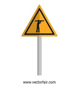 triangle caution emblem and laborer with equipment