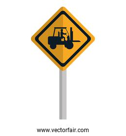 diamond caution emblem and laborer with forklift