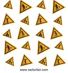 triangle caution emblem to industry maintenance background