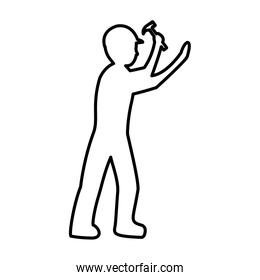 line pictogram laborer with hammer equipment maintenance