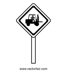 line diamond caution emblem and laborer with forklift