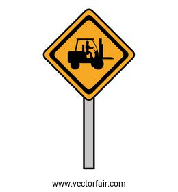 color diamond caution emblem and laborer with forklift