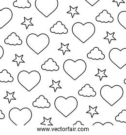 line heart and cloud with bright star background