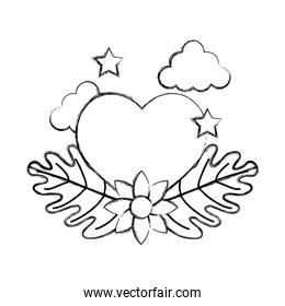 grunge heart with stars and ecology flower leaves