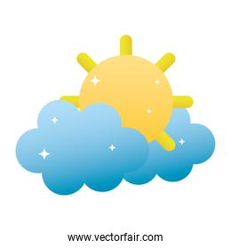 tropical sun and hot weather with clouds
