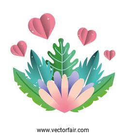 nice flower with hearts and exotic plant