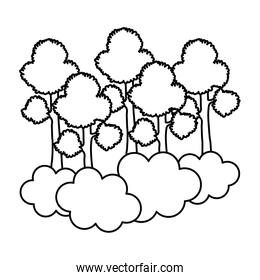 line tropical trees branches stalk with clouds